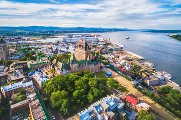 Aerial view of famous Chateau Frontenac hotel in Old Quebec City, Canada.