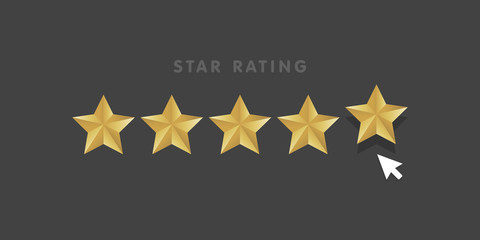 Golden star rating mouse click icon vector illustration