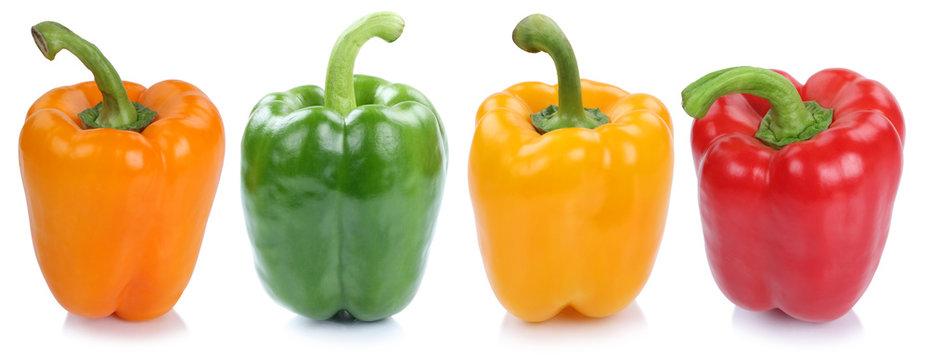 Paprika Sammlung frisch Gemüse seitlich in einer Reihe Freistel