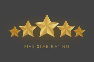 Five golden rating star vector illustration in gray black background