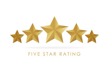 Five golden rating star vector illustration in white background