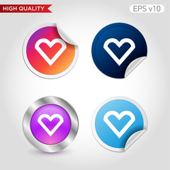 Heart icon. Button with heart icon. Modern UI vector.