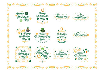 St. Patrick's Day Typography and Embellishment Illustrations 1