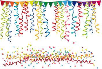 Party Deko: Fähnchen, Luftschlangen und Konfetti für Karneval und Partys