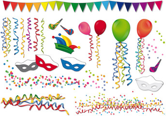 Karneval - Luftballons, Konfetti und Narrenkappe