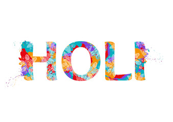 Word Holi with multicolor abstract pattern. Design for Indian Festival of Colours. Vector illustration