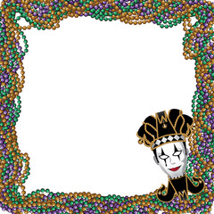 Mardi Gras beads and jester mask background. EPS 10 vector.