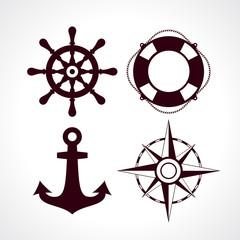 Retro style maritime travel icon set