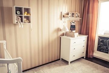 Cozy kids room in retro vintage style
