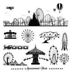 Vector illustration set.Roller Coaster Silhouette .Carousel