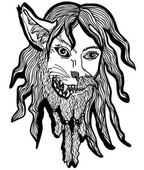Vector illustration of werewolf head black and white