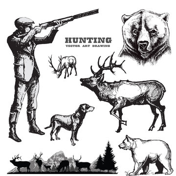 Hunting vector set.Hunter with dog and wildlife.