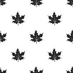 Maple leaf icon in black style isolated on white background. Canadian Thanksgiving Day pattern stock vector illustration.