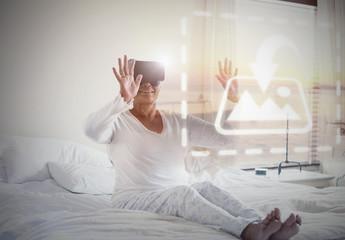 Senior VR User on Bed Mockup 2