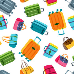 Vector seamless pattern with multicolor luggage, suitcase, bags. Hand drawn doodle illustration. Trendy design for fashion textile print, wrapping, summer travel and tourism background.