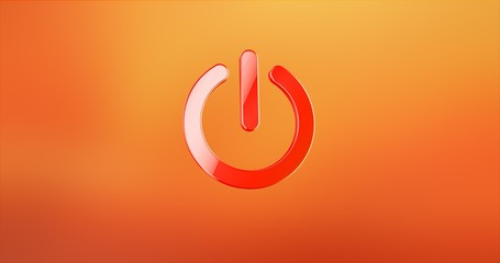 Power ON Red 3d Icon