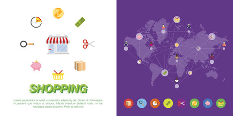 Set of icons on world map background. Vector illustrations on the theme of shopping.