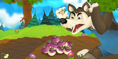 Cartoon scene with happy wolf on the meadow - illustration for children
