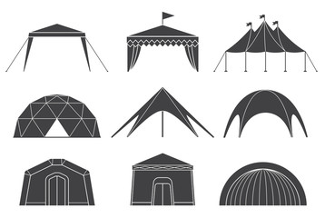 Set of various designs of tents for camping and pavilion tents. Tents for camping in the nature and for outdoor celebrations. Simple and lovable vector illustrations. Wall mural