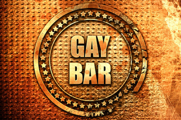 gay bar, 3D rendering, text on metal