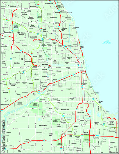 Chicago Metro Map With Major Roads Stock Image And Royaltyfree - Chicago metro map