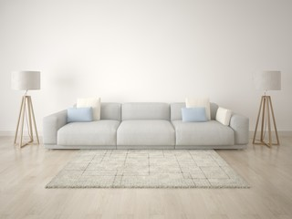 Mock up bright contemporary living room on a white wall.