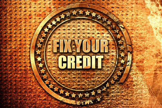 fix your credit, 3D rendering, text on metal