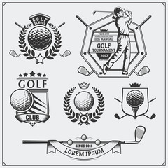 Set of vintage golf labels, badges, emblems and design elements. Monochrome design.