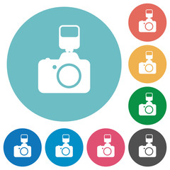 Camera with flash flat round icons