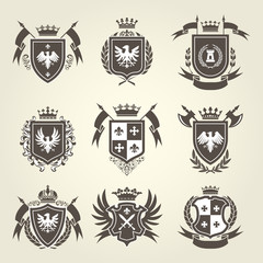 Medieval royal coat of arms and knight emblems - heraldic shield