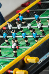Closeup of soccer table football players