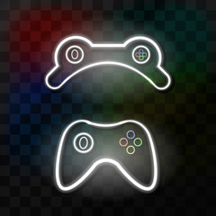 Vector collection of neon signs of controller for decoration on the transparent background. Concept of gaming.