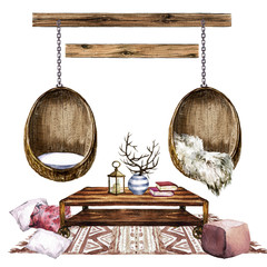 Living Room Design with Rustic Chic Interior - Watercolor Illustration.