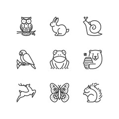 Line icons. Forest animals. Flat symbols