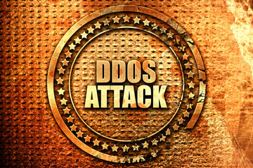 ddos attack, 3D rendering, text on metal