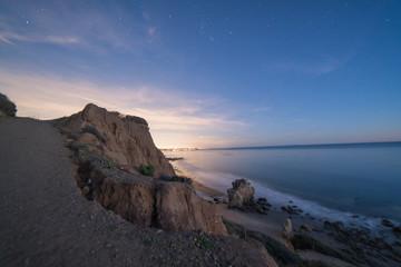 Starry night Sky after sunset at El Matador State beach near Malibu California
