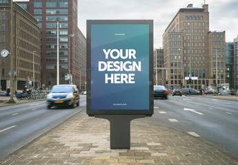 Outdoor Kiosk Advertisement Mockup 3