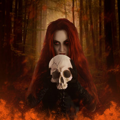 Witch with skull. 