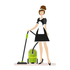 Housekeeper with a vacuum cleaner in working clothes isolated on white background. Flat character isolated on white background. Vector, illustration EPS10.