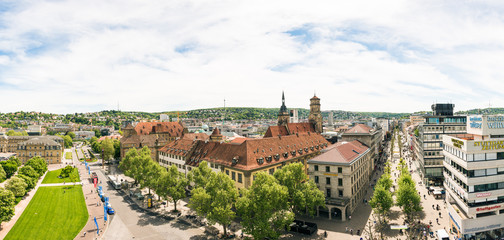High Angle View of Stuttgart Koenigstrasse Panorama