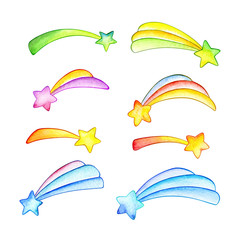 Multicolor falling stars. Funny cartoon stars. Watercolor illustration