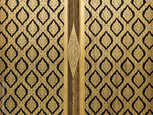Golden and black thai painting door & Golden and black thai painting door