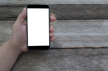 Business man holding smart phone with white screen background for innovative; smart life; IT; social media; online concept design.