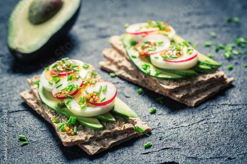 "Spring sandwich with avocado, radish and eggs"" Stok Görseller ve ..."