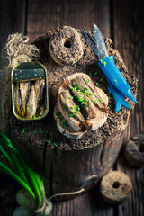 Healthy sandwich wirh sprats with and chive