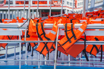 Orange Life Jacket in The boat