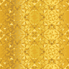 Vector Golden Foil Abstract Kaleidoscope Triangles Grunge Foil Texture Seamless Pattern Background. Great for elegant gold fabric, cards, wedding invitations, wallpaper, floor, kitchen tile.