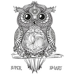 Owl. Design Zentangle. Hand drawn owl with abstract patterns on isolation background. Design for spiritual relaxation for adults.  Black and white illustration for coloring. Zen art