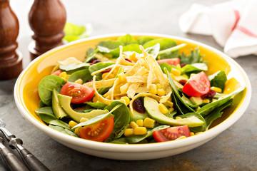 Mexican vegan salad with corn and avocado
