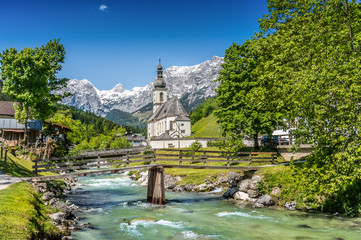 Wall Mural - Church of Ramsau, Bavaria, Germany